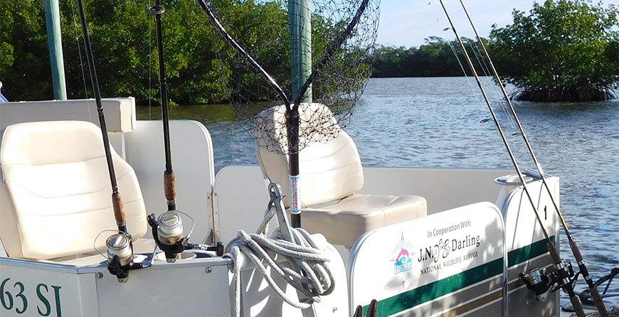 Image of fishing equipment rentals available at Tarpon Bay Explorers