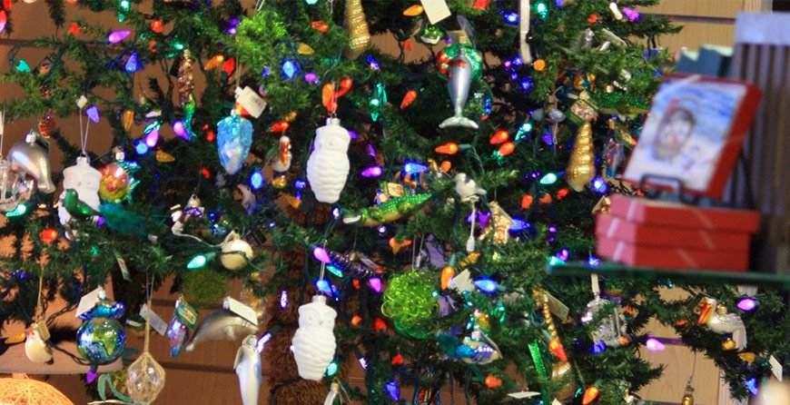 Image of Christmas ornaments in the gift shop at Tarpon Bay Explorers