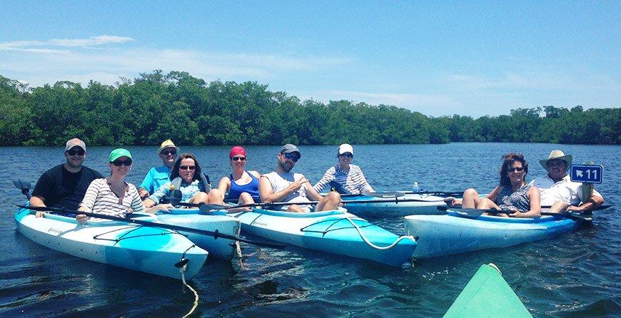 Image of kayakers on the kayak trail tour at Tarpon Bay Explorers