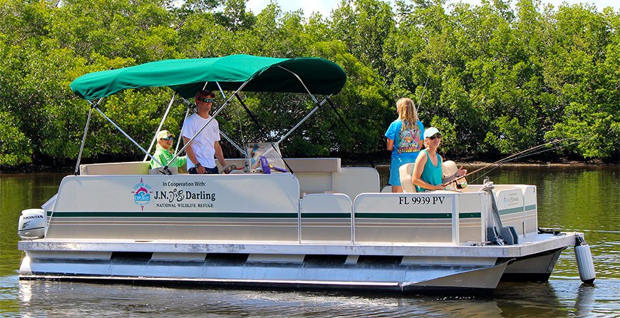 Image of a fishing pontoon boat at Tarpon Bay Explorers