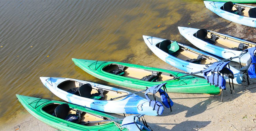Image of kayaks at Tarpon Bay Explorers