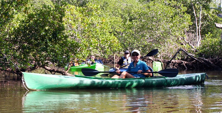 Image of kayakers on the kayak trail tour at Tarpon Bay Explorers